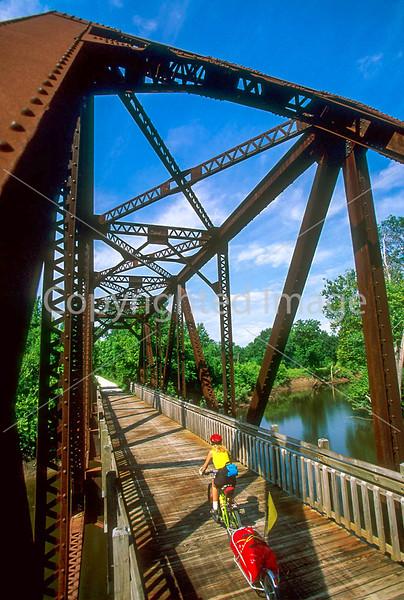 Touring cyclist on Katy Trail near Defiance, Missouri - 2 - 72 ppi