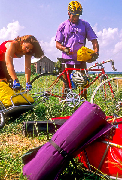 Touring cyclists setting up camp just west of St  Louis, Missouri - -14 - 72 ppi