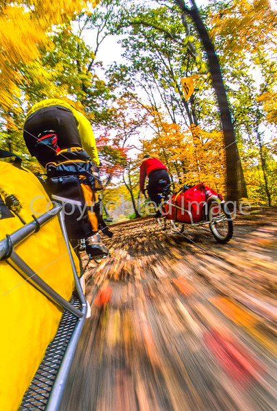 Touring cyclists on Sam Vadalabene Bike Trail between Alton & Pere Marquettte State Park, IL - 1 - 72 ppi