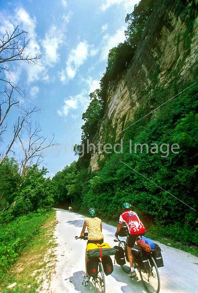 Touring cyclists on Katy Trail near Rocheport, Missouri - 3 - 72 ppi