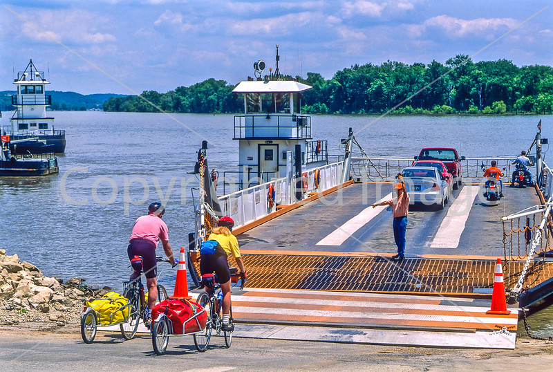 Touring cyclists boarding the Brussels ferry on Illinois River near Alton, IL - 1 - 72 ppi