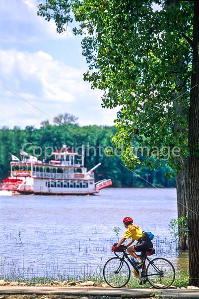Biker & stern-wheeler on Mississippi River near Grafton, IL - 1 - 72 ppi