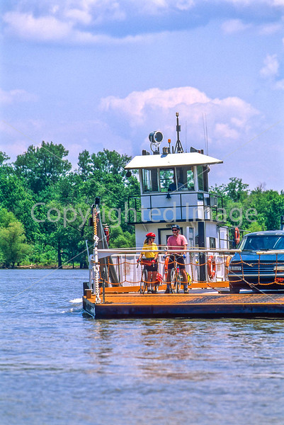 Touring cyclists on Brussels ferry on Illinois River near Alton, IL - 1 - 72 ppi