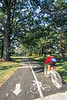 Cyclist on bike path in St  Louis, Missouri's, huge urban Forest Park - 15 - 72 ppi - 75%