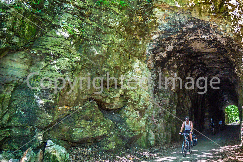 Cyclist(s) on Katy Trail; tunnel near Rocheport - C3-0105 - 72 ppi