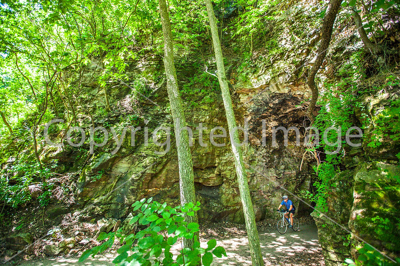 Cyclist(s) on Katy Trail; tunnel near Rocheport - C2-A-0156 - 72 ppi