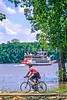 Biker & stern-wheeler on Mississippi River near Grafton, IL - 2 - 72 ppi