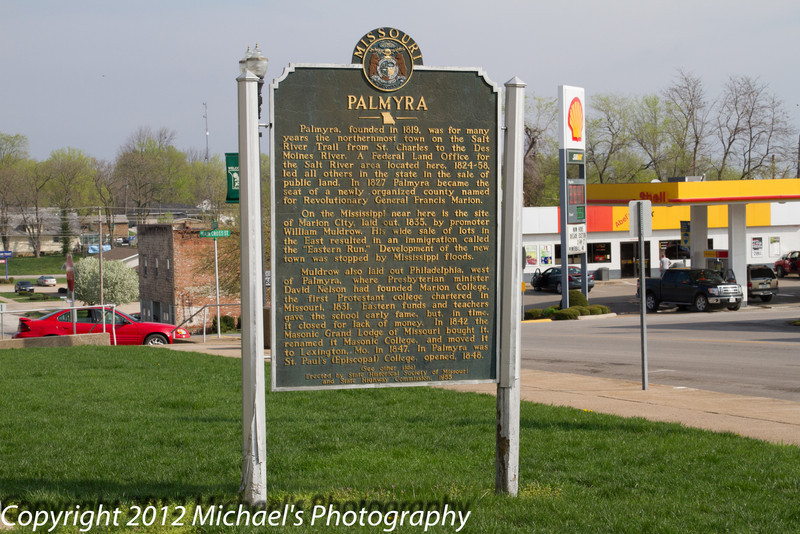 A plague detailing a brief history of Palmyra and Marion County. See the other photo showing the back side of this for a complete detailing.