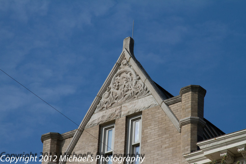 More interesting work on the gable of the east side.
