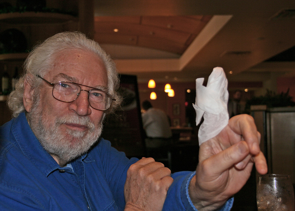 Mike decided to fold a napkin around his finger...always one in the crowd!