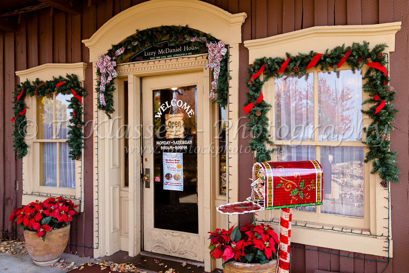 A storefront at The Christmas Village decorted for the season in Branson, Missouri USA.