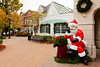 The shops and stores with Santa at the Grand Village Shopping Center in Branson, Missouri, USA.