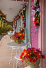 Fall color décor in the storefronts at the Grand Village Shopping Center in Branson, Missouri, USA.