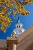 The bell tower and fall foliage at the Grand Village Shopping Center in Branson, Missouri, USA.