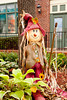 A fall public display of scarecrow, pumpkins, flowers and corn stalks in Branson, Missouri, USA.