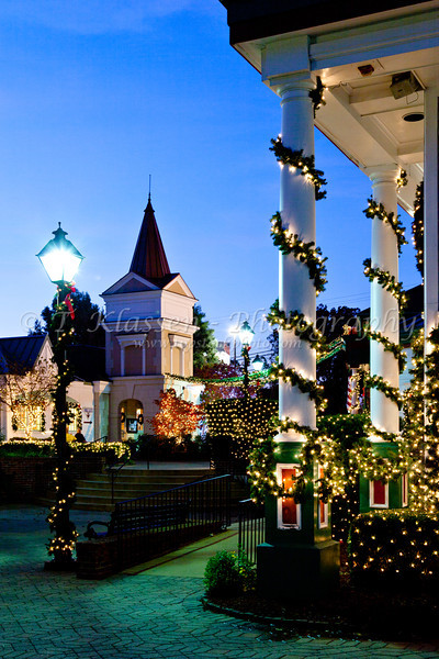 The shops and stores at the Grand Village Shopping Center decorated for Christmas in Branson, Missouri, USA.