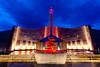The shrine of the Holy Spirit illuminated at night in Branson, Missouri, USA.