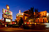 The Baldnobbers theater illuminated at night in Branson, Missouir, USA.