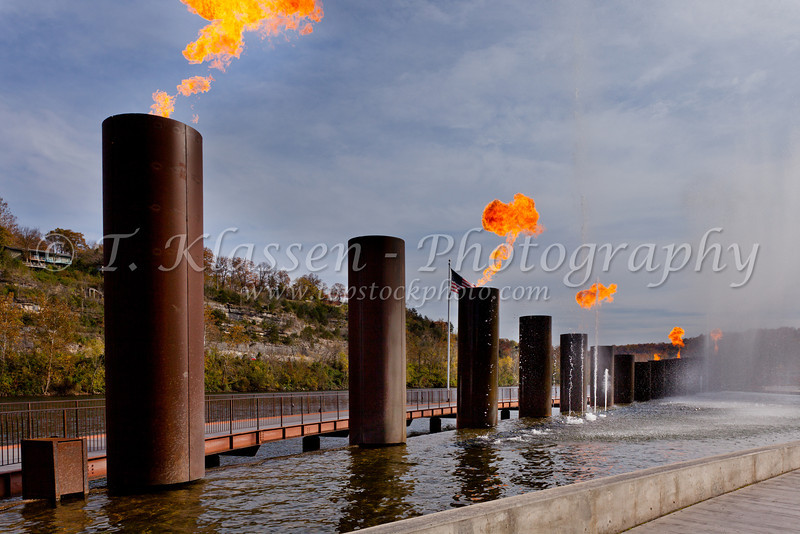 The decorative fire and water fountain at the Branson Landing shopping center in Branson, Missouri, USA.