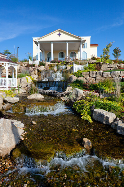A stream and waterfall at a hotel in Branson, Missouri, USA.