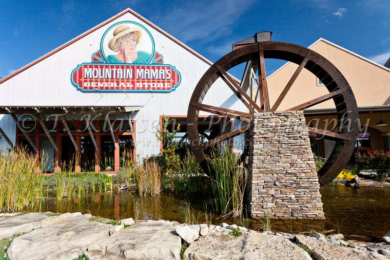 A waterwheel at the Branson Meadows shopping area in Branson, Missouri, USA.