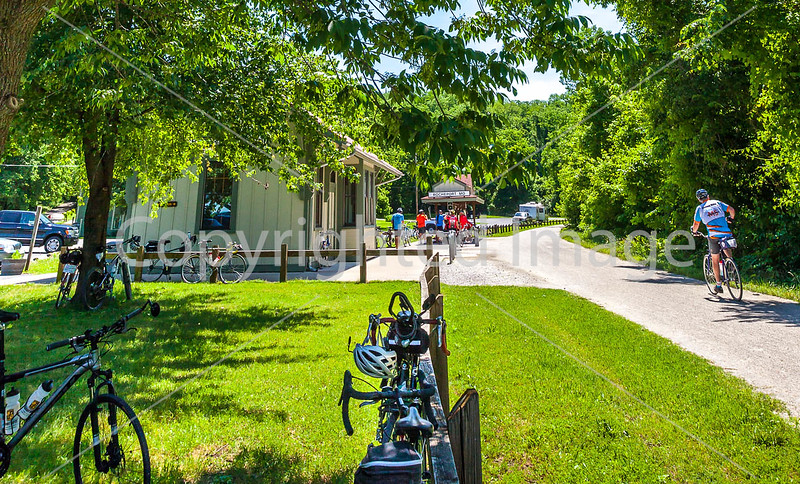 Cyclist(s) on Katy Trail at Rocheport trailhead - C2-A-0273 - 72 ppi-2