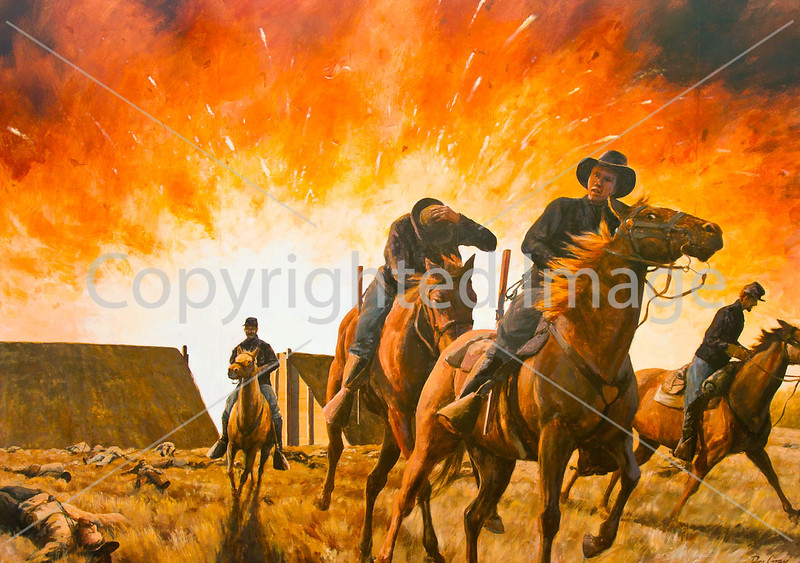Mural in Cuba, Missouri, depicting Union forces blowing up Fort Davidson at Pilot Knob - C3-0112 - 72 ppi