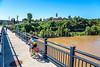 Cyclist on bridge over Missouri River at Hermann, Missouri - C3-0096 - 72 ppi