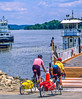 Touring cyclists boarding the Brussels ferry on Illinois River near Alton, IL - 2 - 72 ppi