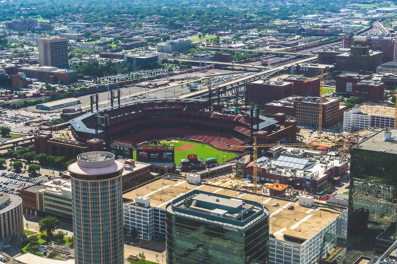 View of Busch Stadium (from the Arch) in St. Louis Missouri