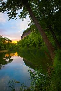 Cliffs at sunset above the Big Piney near Duke, Missouri.  Photo by Kyle Spradley | © Kyle Spradley Photography | www.kspradleyphoto.com