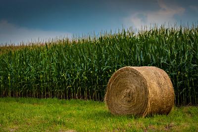 Hay Bail in cornfield in Boone County.  Photo by Kyle Spradley | www.kspradleyphoto.com