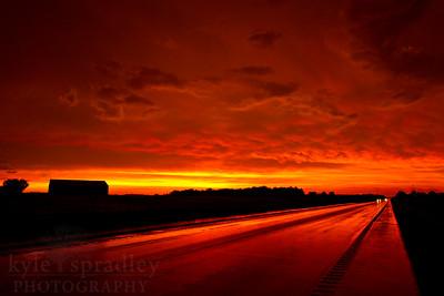 A wild sunset along Highway 19, north of Hermann in Missouri.   Photo by Kyle Spradley | www.kspradleyphoto.com