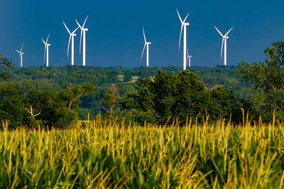 Windmill turbines in Northwest Missouri near the towns of King City, Clyde and Conception. The bright white windwills are a stark contrast to the rural farmlands of the area with old barns, buildings, corn fields and soybean plantations. Summer afternoon.  Photo by Kyle Spradley | www.kspradleyphoto.com