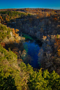 Ha Ha Tonka State Park near Cadmenton, Missouri on the Lake of the Ozarks. Castle ruins and water tower. Springs. Wooden walkway. Fall sunset.  Photo by Kyle Spradley | www.kspradleyphoto.com