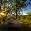 A tent is set up at Three Creeks Conservation Area outside of Columbia, Missouri.  Photo by Kyle Spradley | www.kspradleyphoto.com