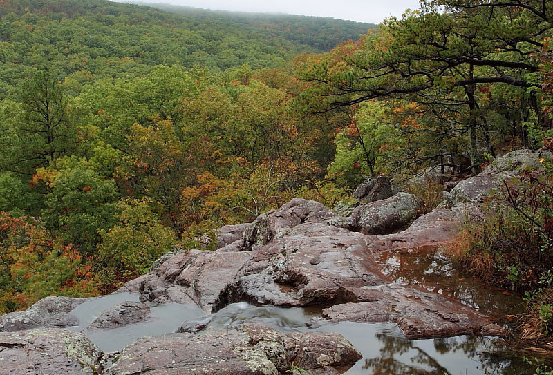 MNB-017: A view of the St. Francois Mountains from the top of Mina Sauk Falls