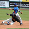 Starlin Castro gets the force out at second base.