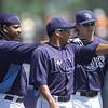 Manny Ramirez, Ray Olmedo, and Evan Longoria of the Tampa Bay Rays