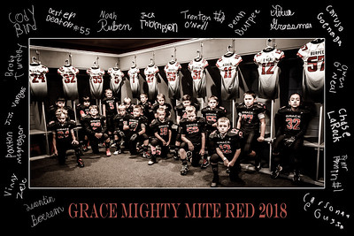 Mites Red 2018 Team Locker v003 Matted v001 with Autographs v001