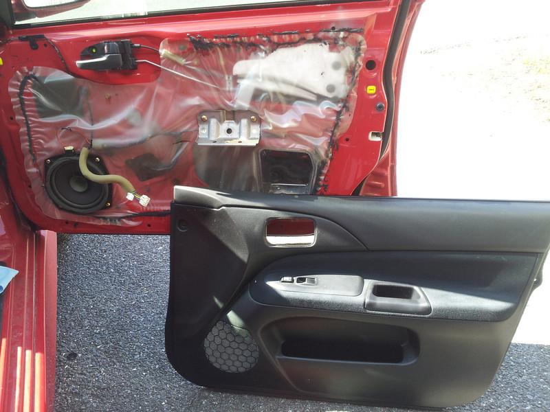 Door panel removed.  Factory speaker shown.
