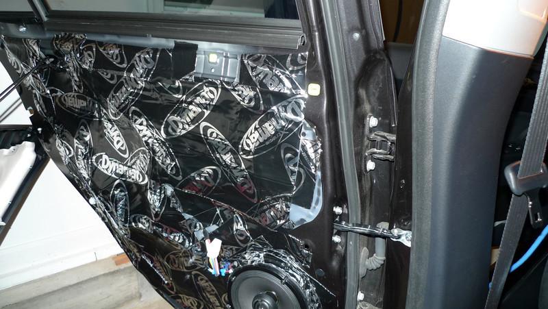 "Aftermarket speaker and speaker adapter bracket  from  <a href=""http://www.car-speaker-adapters.com/items.php?id=SAK107""> Car-Speaker-Adapters.com</a>   installed on door. Dynamat sound deadener installed."