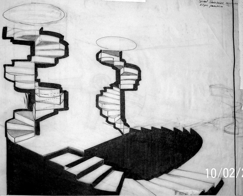 impossible  spiral staircase sketch