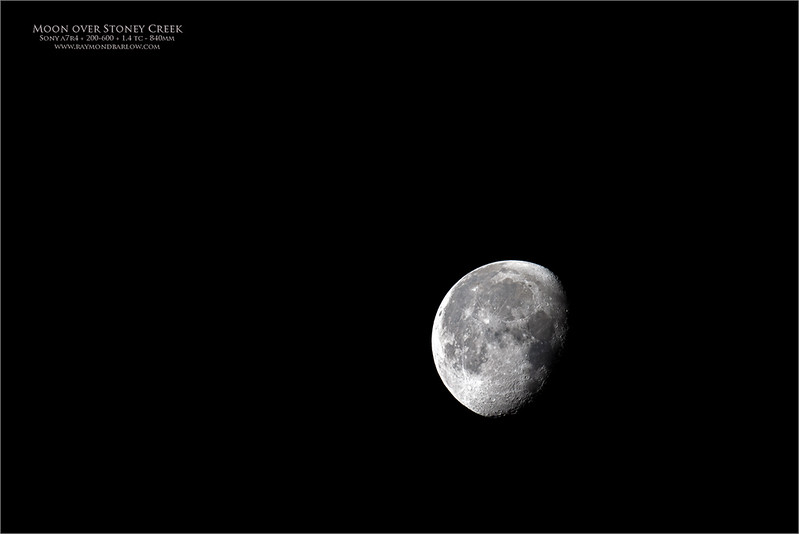 Full frame<br /> <br /> Another try at the moon, with better results.  Thanks to Tim Story for joining me with such a cool view of the Comet, and the moon on the same morning.  <br /> <br /> a7r4 + 200-600mm + 1.4 tc = 840mm