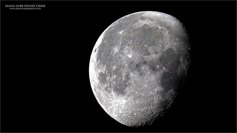 Cropped image.<br /> <br /> Another try at the moon, with better results.  Thanks to Tim Story for joining me with such a cool view of the Comet, and the moon on the same morning.  <br /> <br /> a7r4 + 200-600mm + 1.4 tc = 840mm + heavy crop!