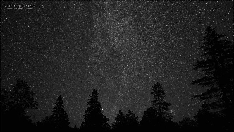 Algonquin Stars<br /> <br /> For fun, I took a second try at editing this image.  Some lens corrections, and converted to B+W.  Looks a bit better I think.<br /> <br /> It was so calm and quiet out there in pure blackness.  No moon and no towns or cities for miles.  I am sure this coming winter I will find the skies to be much more clear, no smoke, and no humidity hopefully! <br /> <br /> I will be heading back up soon for some more landscapes!   Safe safe please!