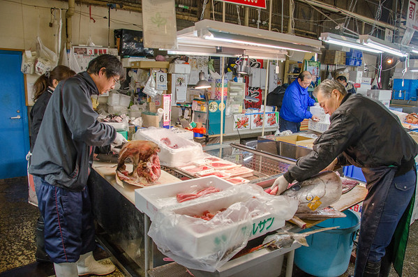 Fish vendors at the Shiogama Fish Market