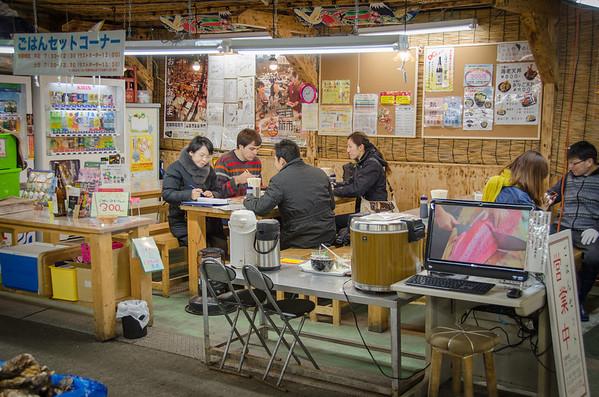 Sharing kaisendon with friends - Shiogama Fish Market