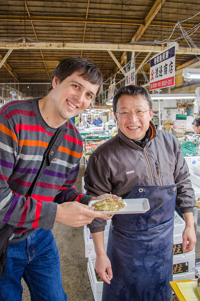 Trying miyagi local oysters at the Shiogama Fish Market