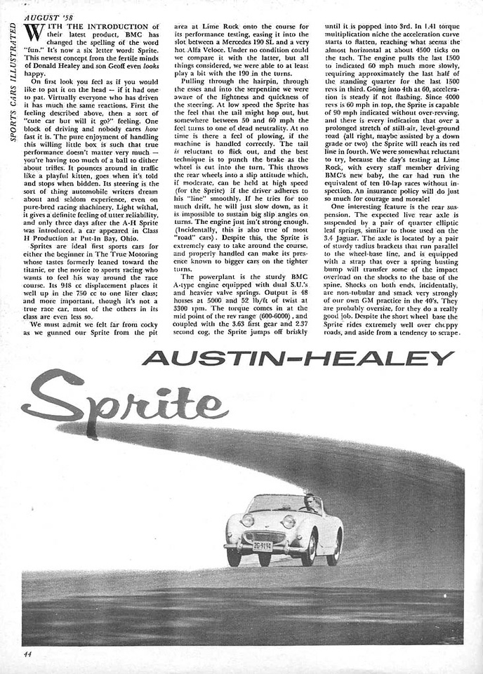 Sports Cars Illustrated USA 1958 August 2